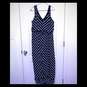 NWOT Navy and white maxi high-low dress